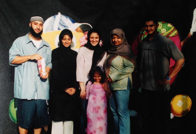 Circa 2001 or so. We visited Adnan at Family Day in the Jessup prison. From the right is Saad, me, my little girl who is now a teenager, our friend Rana, my little sister Lilly, and Adnan. I wish his current prison allowed such visits. We had BBQ and music and it was so great to just be around him without being separated from him.