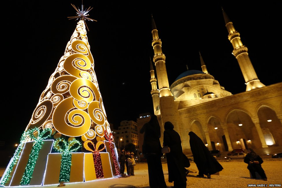 A Christmas display in front of a mosque in Beirut, Lebanon.