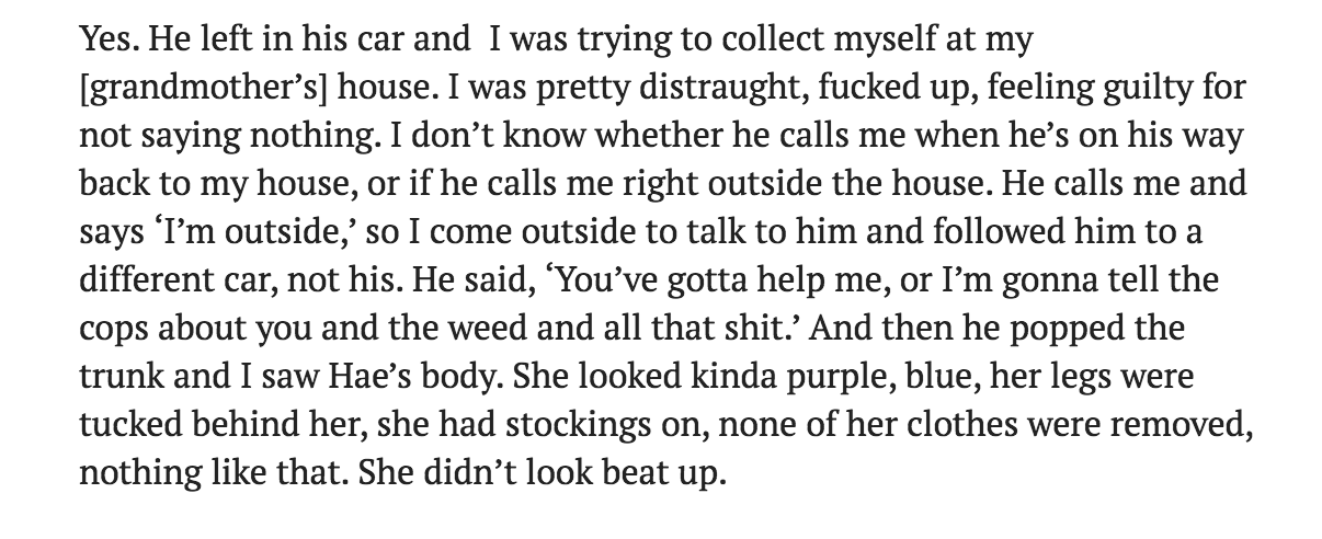 More on Jay's recollection of getting picked up at his nana's house around midnight. Of course, there is no record of any call to Jay's house from Adnan's phone that night. In fact there are no calls made at all after