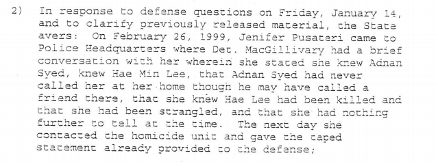 Jen doesn't mention Adnan's involvement with the murder this night. Then she goes to talk to Jay and comes back the next day with her lawyer and story.