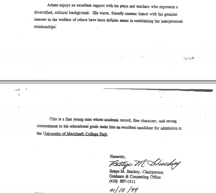 This the recommendation letter Adnan went to pick up, dated 1/13/1999