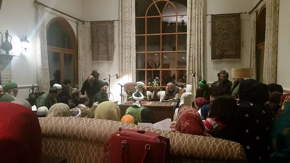 That's Sh. Hisham sitting in the chair on the left in the glasses and white beard. There was a drummer, and people sang and recited together. It was full of love and peace. Take that, ISIS.