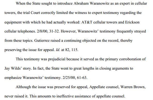 From post-conviction appeal brief