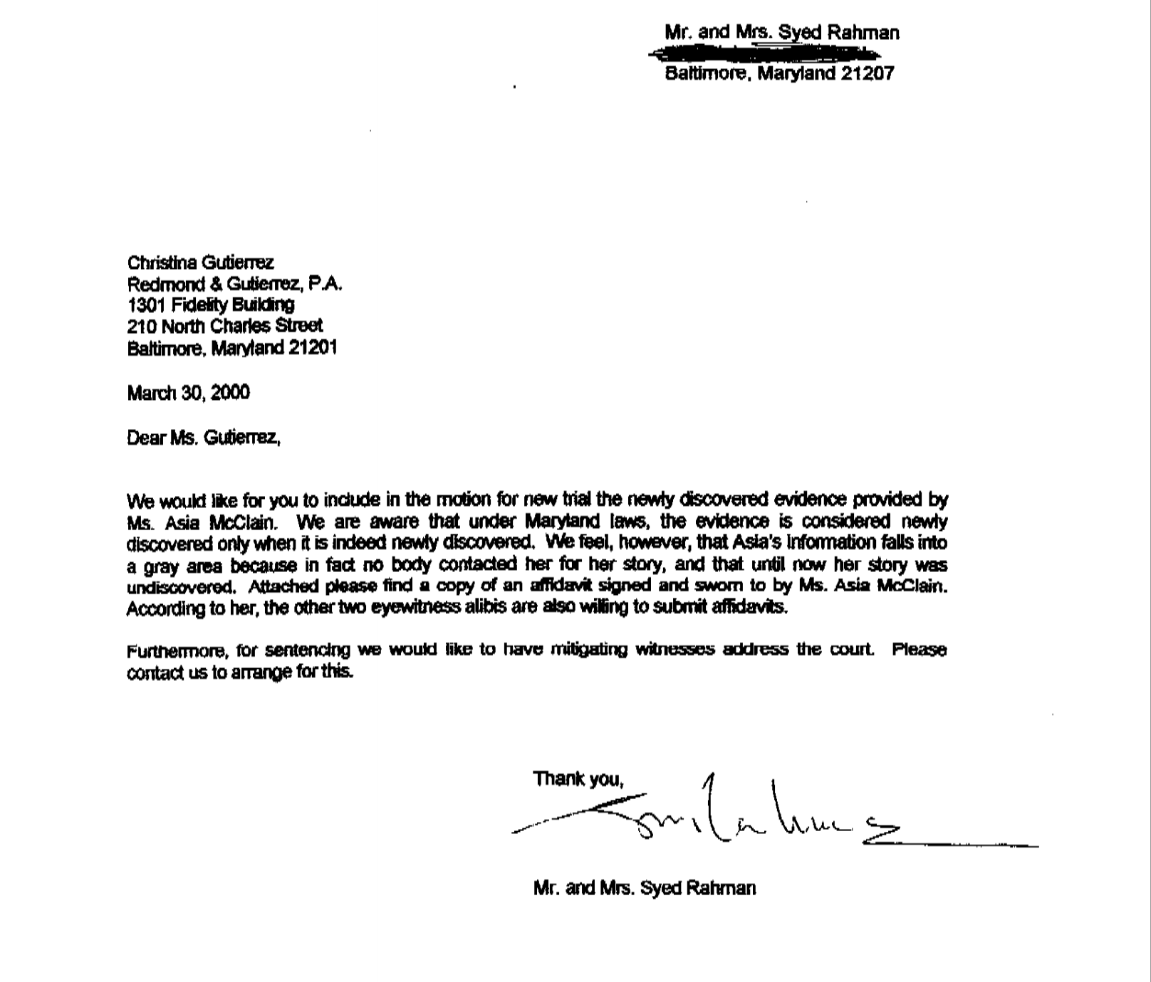 A letter I drafted for Adnan's parents immediately after getting the affidavit from Asia in 2000. We were frantic, simply destroyed to learn Gutierrez had never contacted her.