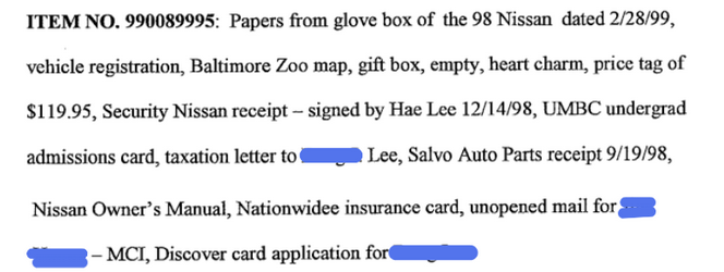 From transcription of evidence review of things found in Hae's car. Full transcription in my previous blog post from December 22.