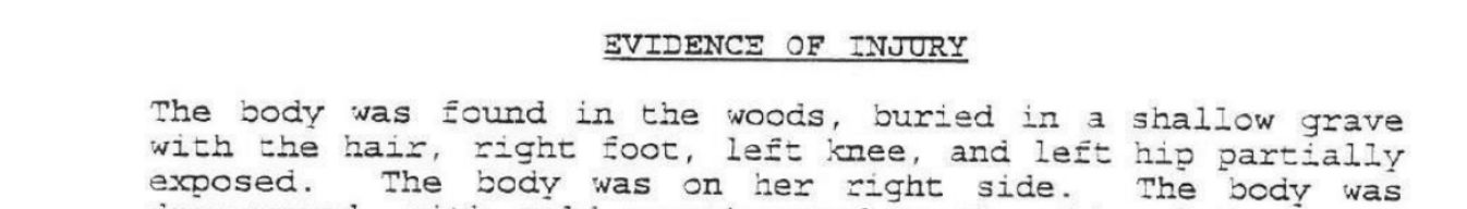 From the autopsy report, linked to in full in the caption of the following image
