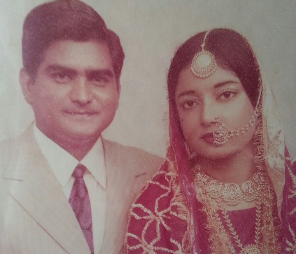 Lahore, 1973. Ami and Abu in their wedding finery. Long before the advent of professional photographers at weddings in Pakistan, this was taken weeks later in a studio.