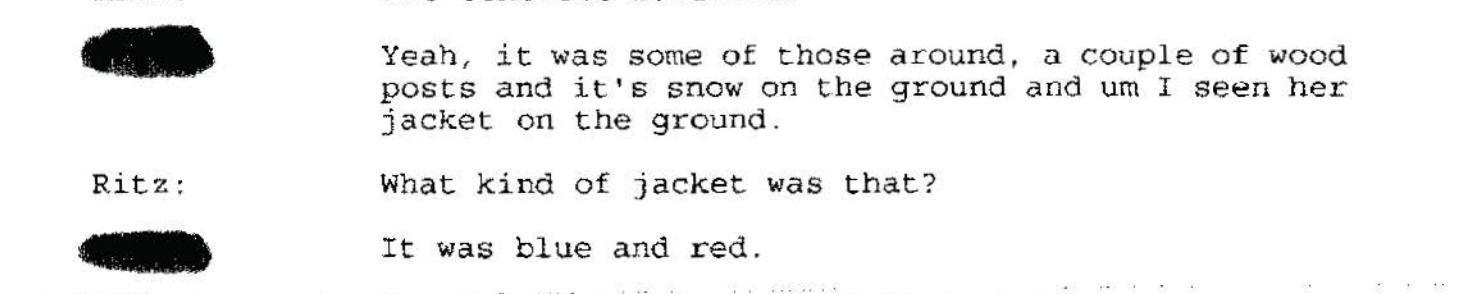 Once again, the snow, 2/27/99 police interview